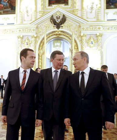 Russia's Prime Minister Dmitry Medvedev, Kremlin's Chief of Staff Sergei Ivanov, and Russia's President Vladimir Putin