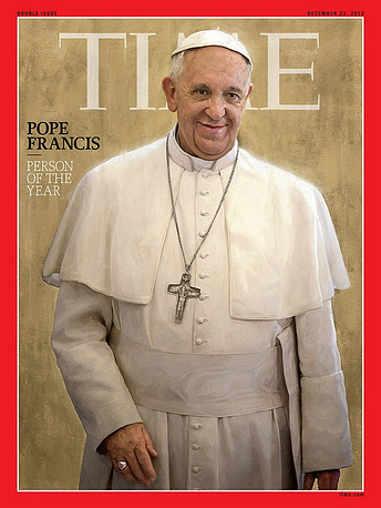Pope Francis was named Time's person of the year 2013. He was followed by former US National Security Agency (NSA) contractor Edward Snowden and Syrian President Bashar al-Assad