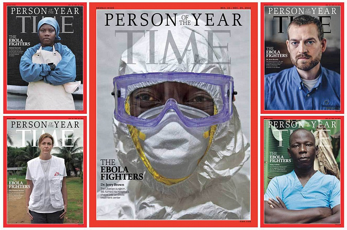"""Ebola fighters"" were named Time's People of the Year 2014. The photograph of Dr. Jerry Brown, the medial director and general surgeon at the Eternal Love Winning Africa Hospital in Monrovia, Liberia was put in the center of the cover"