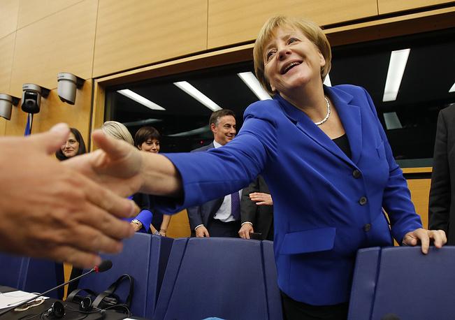 Angela Merkel at the European Union Parliament in Strasbourg, France, October 7, 2015