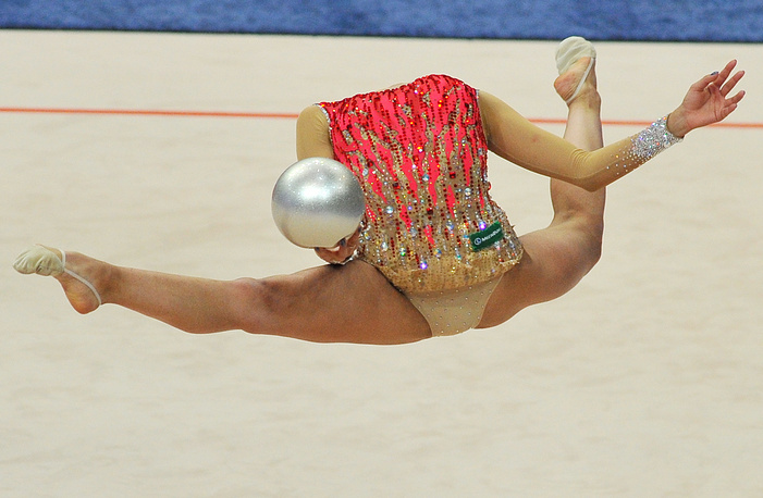 Margarita Mamun of Russia competing to win silver in the women's individual ball final at the 2015 European Rhythmic Gymnastics Championships, May 3, 2015