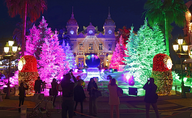 Christmas trees decorated in front of the Monte Carlo Casino in Monaco