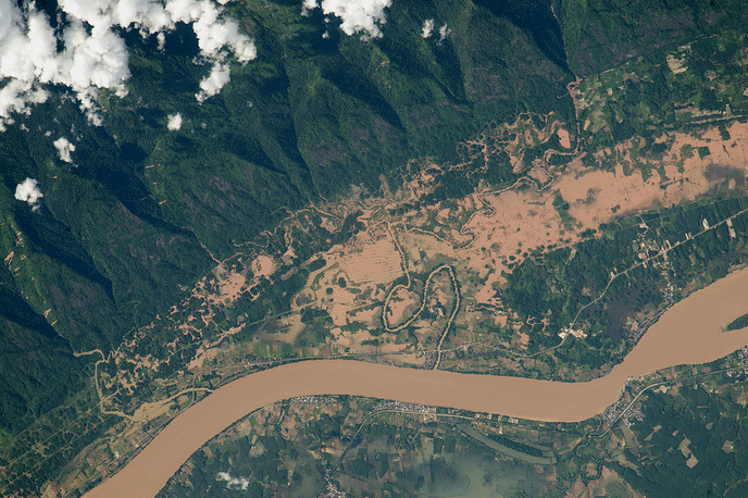 Flooding on the Mekong River floodplain, Thailand and Laos