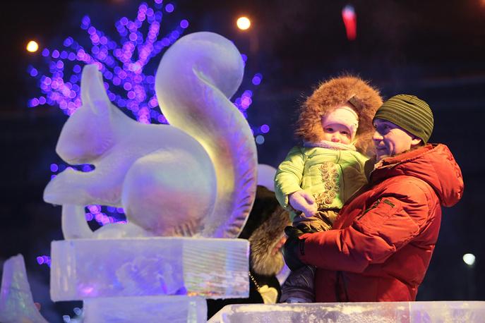 Local residents in Belovodye ice city in Omsk