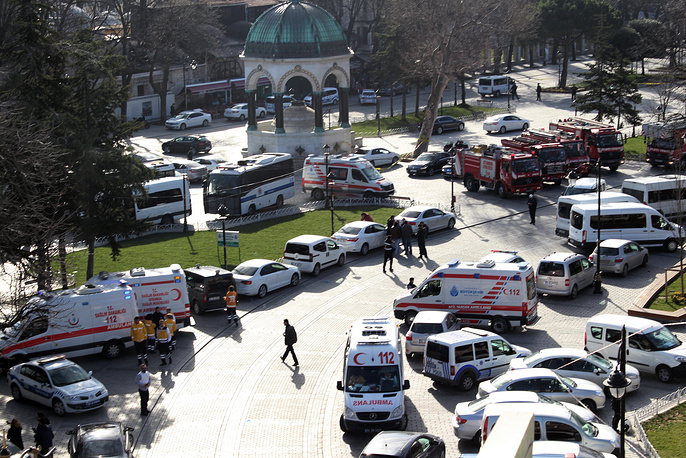 Ambulances and firefighters stationed near the city's landmark Sultan Ahmed Mosque or Blue Mosque after an explosion at Istanbul's historic Sultanahmet district