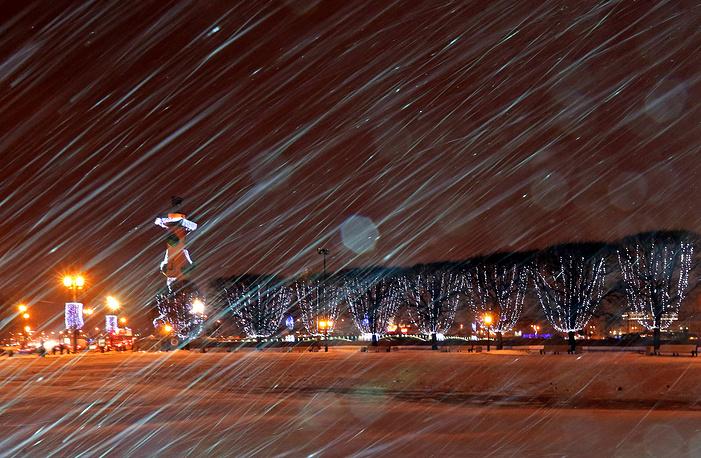 Heavy snowfall in Saint Petersburg