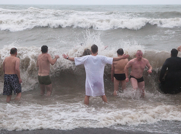 Orthodox believers taking dip in waters of the Black Sea in Sochi