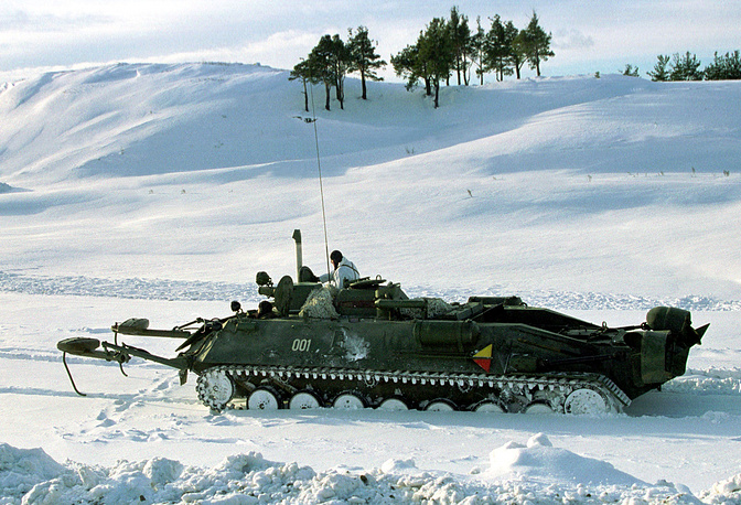 Track minelayer moving to the combat training of Volga-Urals military district, 2002