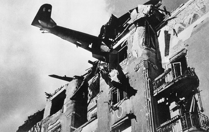 Fascist aircraft rammed a house in Budapes, 1945