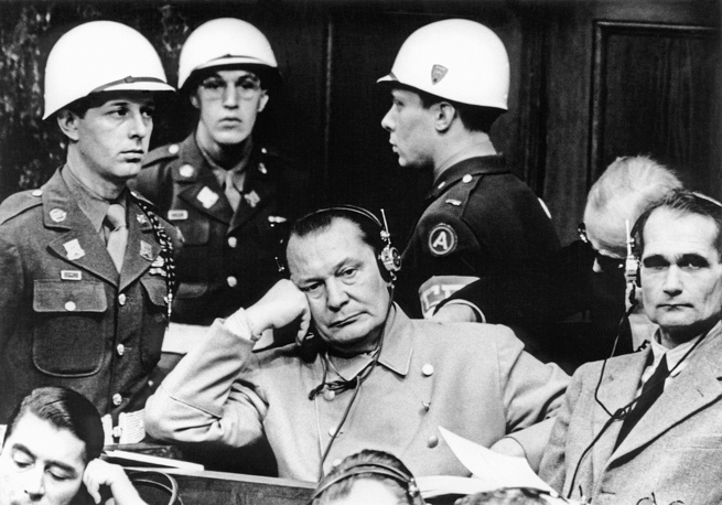 Reichmarshall Hermann Goering and Hitler's deputy leader Rudolf Hess during their trial in Nuremburg, 1945