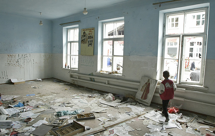 School Number One in the town of Beslan, which was involved the capture of over 1,100 people as hostages and ended with the death of at least 385 people, North Ossetia, 2005