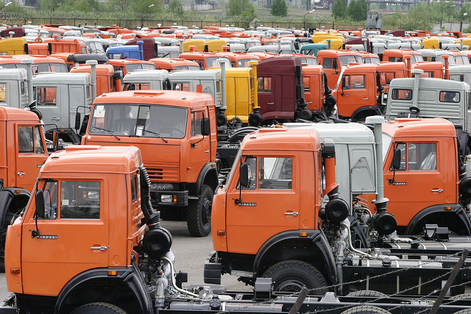 Kamaz-53229 trucks at the plant in Naberezhnye Chelny, 2005