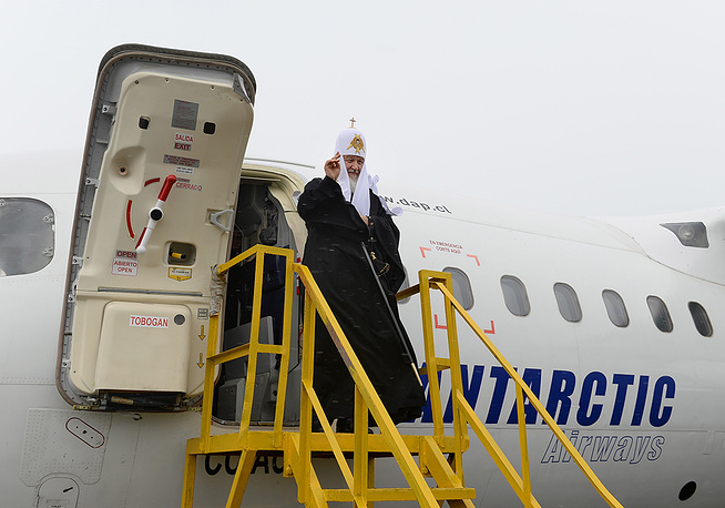 Patriarch Kirill of Moscow and All Russia flew to Antarctica from Chile's Punta Arenas