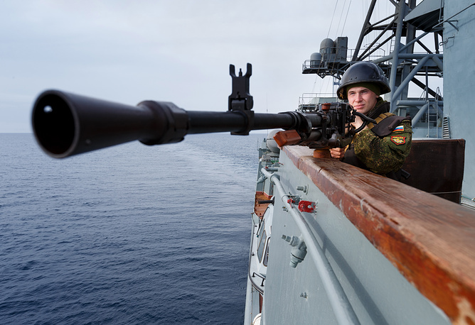 A Navy officer onboard the Vice-Admiral Kulakov off Syria's coast