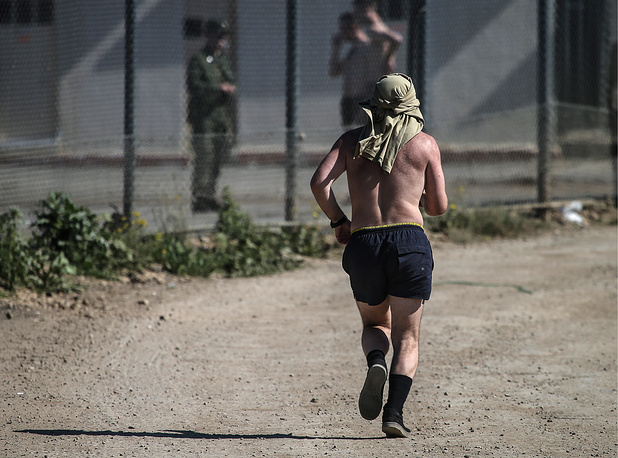 Russian soldier jogging at Hmeimim airbase