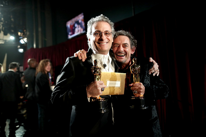 Sound editors Mark A. Mangini and David White winners of the Best Sound Editing award for 'Mad Max: Fury Road' backstage at Dolby Theatre