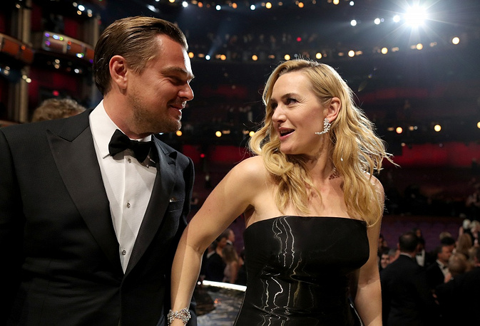Leonardo DiCaprio and Kate Winslet at the 88th Annual Academy Awards
