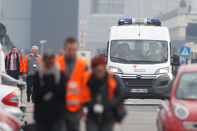 Ambulance near the terminal building at Brussels Airport
