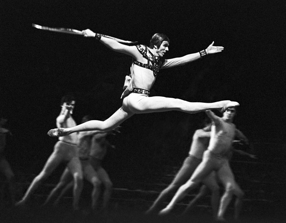 Soloist Valery Lagunov as Archon in a scene from Sergei Slonimsky's Icarus ballet, 1976