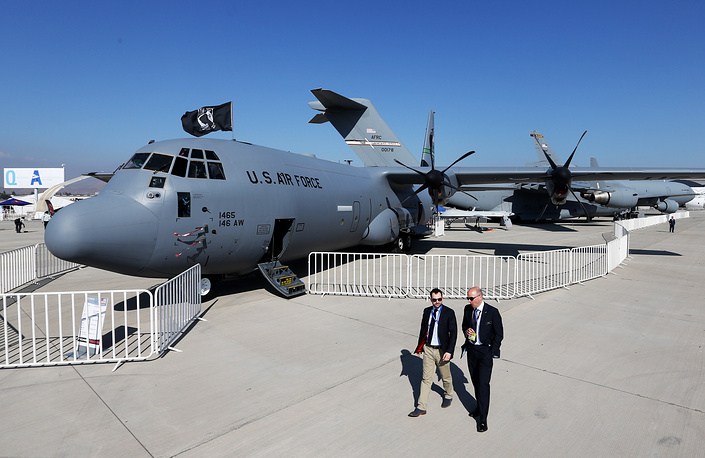 A Lockheed C-130 Hercules military transport aircraft