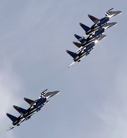 The Russkiye Vityazi aerobatic team performing at an air show in Rostov-on-Don, 2015