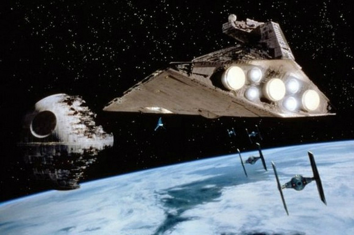 Imperial shuttle on the way to the second Death Star, 'Star Wars: Episode VI'