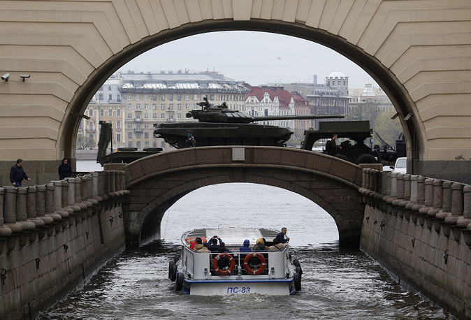 Russian T-72 tanks traveling past the State Hermitage museum after a rehearsal for the Victory Day military parade which will take place at Dvortsovaya (Palace) Square on May 9 to celebrate 71 years after the victory in WWII, in St.Petersburg