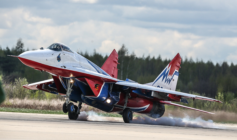 A Mikoyan MiG 29 fighter jet of the Strizhi (Swifts) aerobatic team in Kubinka after the rehearsal for the Victory Day military parade