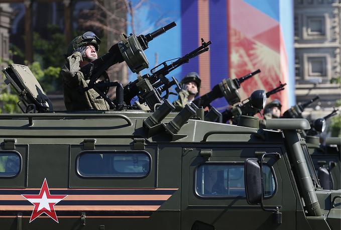 Russian servicemen on Tigr military vehicles