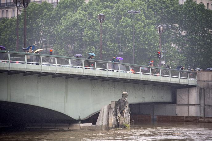 Pont de l'Alma bridge following heavy rainfalls in Paris