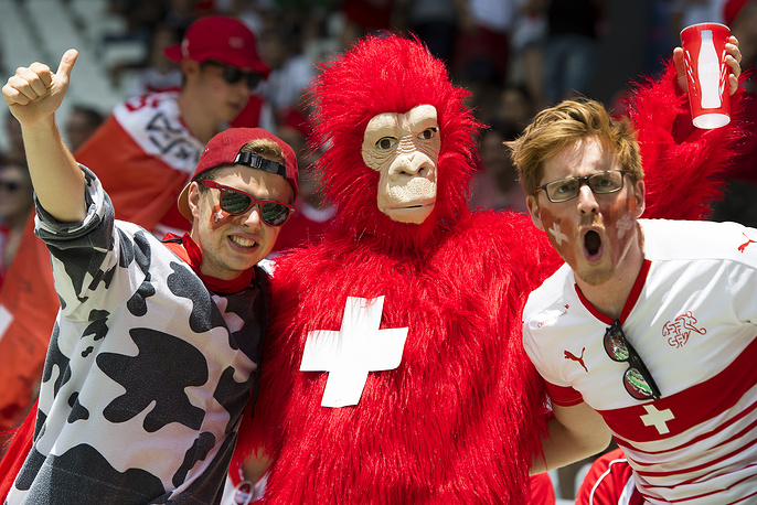 Swiss fans ahead of the Euro 2016 match between Switzerland and Poland, 25 June 2016