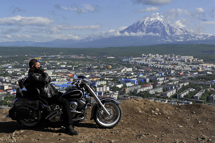 View of Petropavlovsk-Kamchatsky and the Koryak volcano