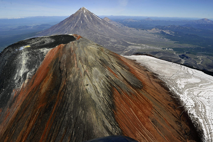 A view from a helicopter at the crater of Avacha (Avachinsky) volcano (2751m) in Nalychevo Nature Park