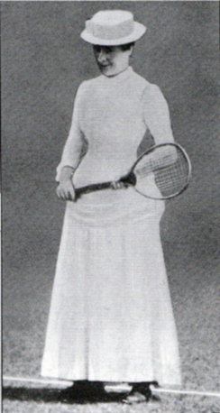 Maud Edith Eleanor Watson was an English tennis player and the first female Wimbledon champion. Playing in white corsets and petticoats, she won the title in 1884 and 1885