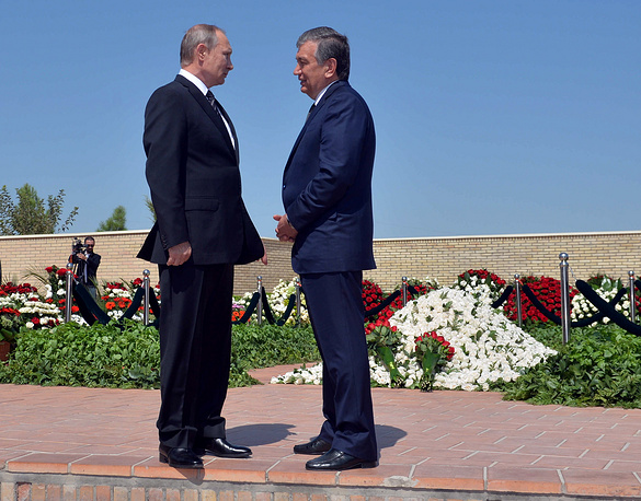 Vladimir Putin and Shavkat Mirziyoyev