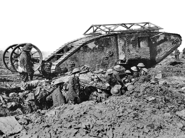 An early model Mark I 'Male' Tank of 'C' Company that broke down crossing a British trench on its way to attack Thiepval during the Battle of the Somme, September  25, 1916
