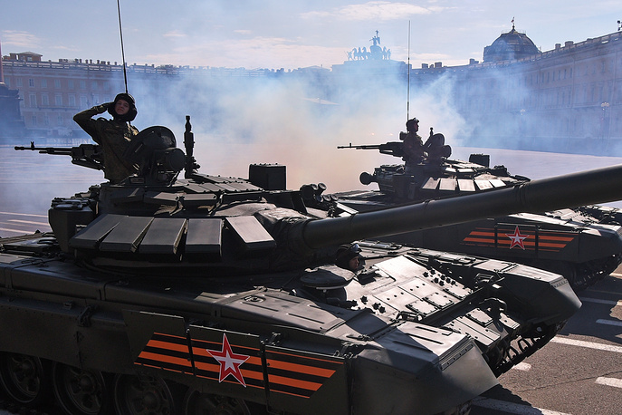 The T-90 is a third-generation Russian battle tank that entered service in 1993. From 2001 to 2010, T-90 tank became the best selling in the world. Photo: T-90A tanks during a Victory Day military parade in Saint Petersburg
