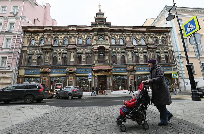 Tea House in central Moscow resembling Chinese pagoda was constructed in 1890-1893 by architect Roman Klein for Perlov & Sons tea company