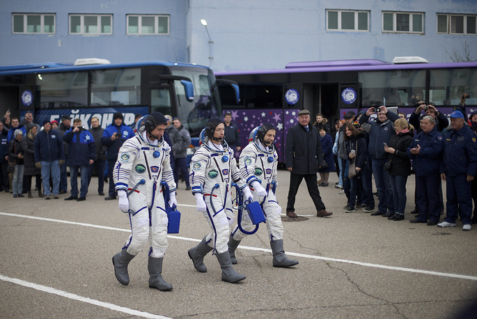 US astronaut Shane Kimbrough, Russian cosmonauts, Sergey Ryzhikov and Andrey Borisenko, members of the main crew to the International Space Station, prior to the launch of the Soyuz MS-02 space ship