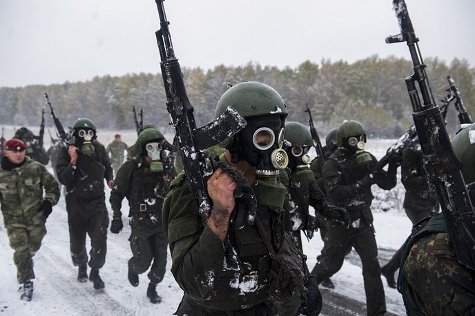 Special task force and reconnaissance units members of the Russian Federal National Guard Troops Service take a qualification test to earn the maroon beret