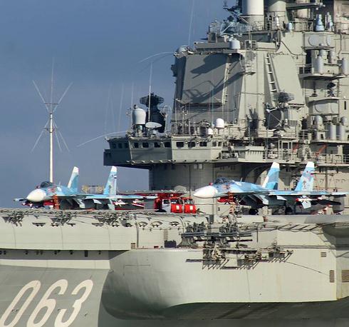 Flight deck of Russian aircraft carrier Admiral Kuznetsov