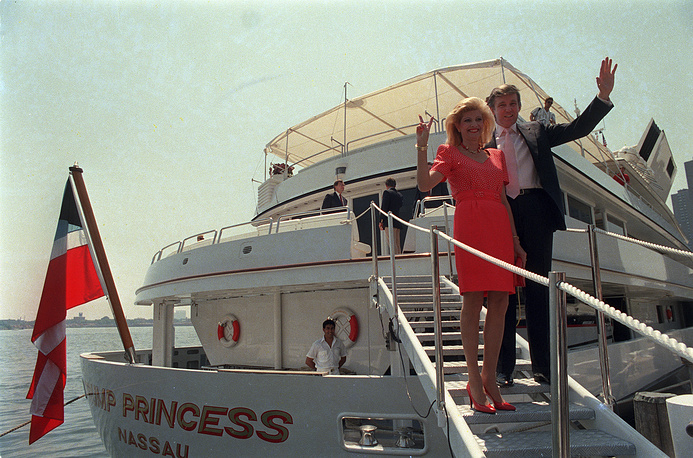 "Donald Trump with his first wife, Ivana board their yacht ""The Trump Princess"" in New York, 1988"