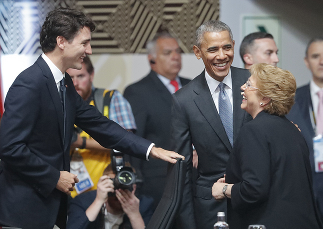 US President Barack Obama, Canada's Prime Minister Justin Trudeau and Chile's President Michelle Bachelet