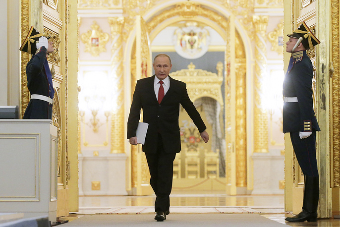 Russia's President Vladimir Putin at the Moscow Kremlin ahead of his annual address to the Russian Federal Assembly, December 1