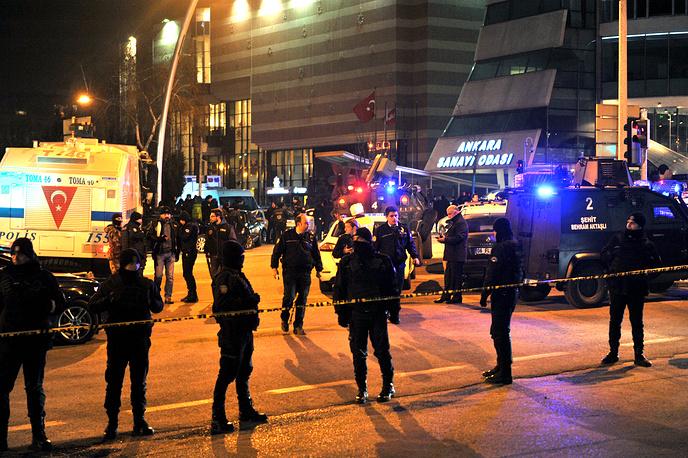 Turkish police near the area where Russia's ambassador to Turkey, Andrey Karlov was shot, in Ankara