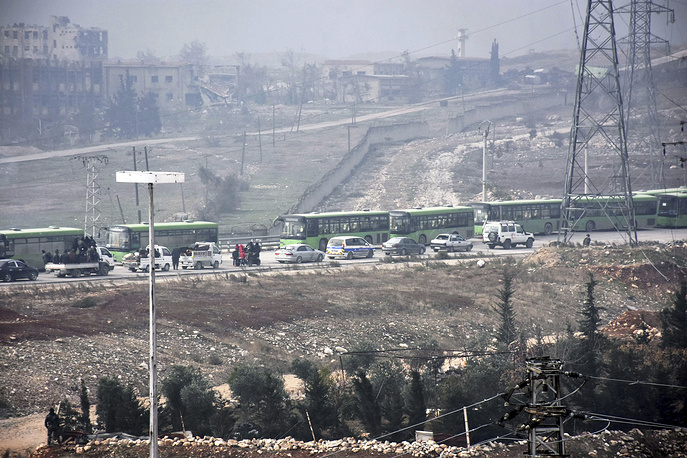 Buses evacuating residents from eastern Aleppo, December 16