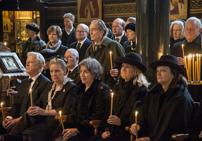 Prince Dimitri Romanov's widow Dorrit Reventlow during a funeral service at the Russian Orthodox Church of St Alexander Nevsky