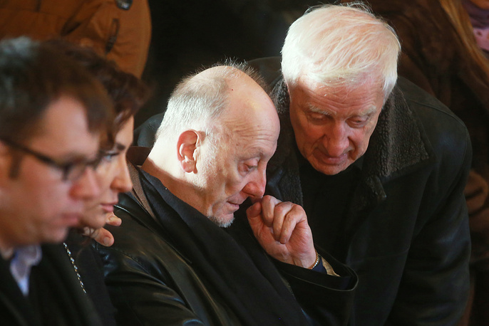 Yelizaveta Glinka's husband Gleb at a farewell ceremony for Yelizaveta Glinka (known as Doctor Liza), who died in an airplane crash over the Black Sea on December 25, 2016