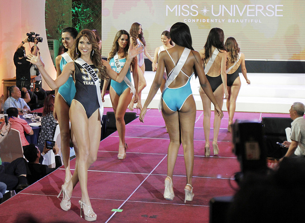Miss Universe candidate Keity Drennan from Panama joins other contestants in the swimwear presentation