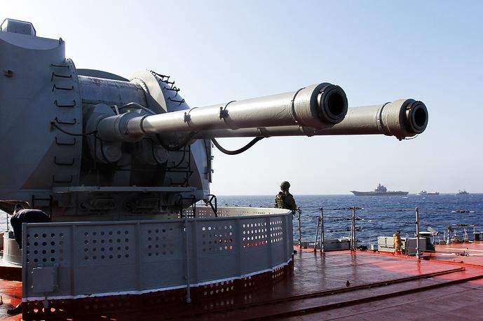 A gun on Pyotr Veliky missile cruiser